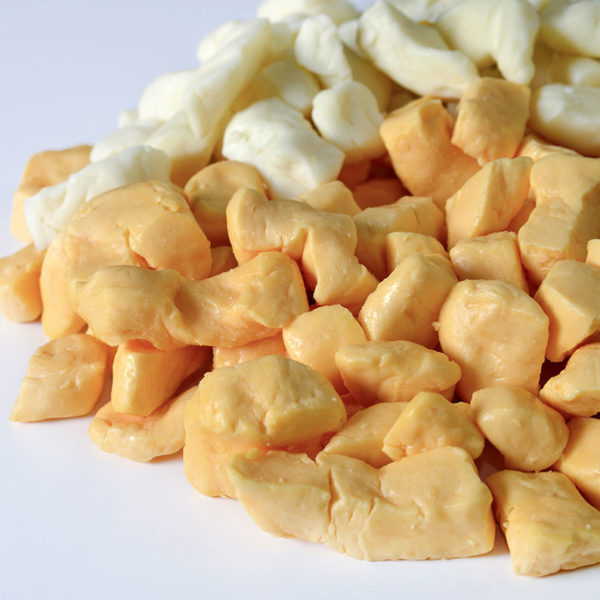 yellow and white cheddar curds