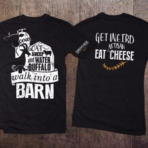 a cow, goat, sheep and water buffalo walk into a barn t-shirt